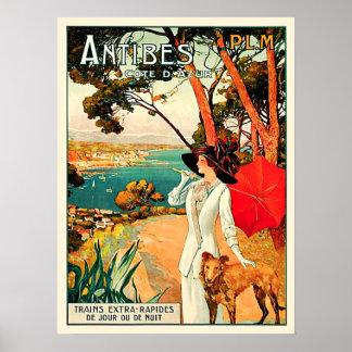 Póster Viaje de Antibes Cote d'Azur del vintage