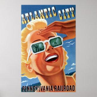 Póster Viaje de Atlantic City del ferrocarril de