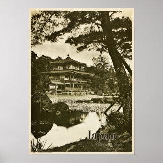 Póster Viaje de Japón del templo budista de Kinkaku-ji