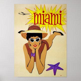Póster Viaje de Miami la Florida del vintage
