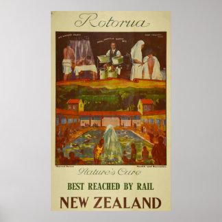 Póster Viaje de Rotorua Nueva Zelanda del vintage