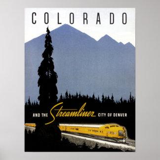 Póster Viaje del ferrocarril de Denver Colorado del
