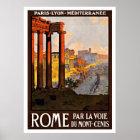 Póster Viaje del vintage de Roma Italia