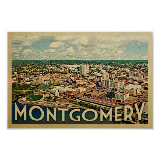 Póster Viaje del vintage del poster de Montgomery Alabama