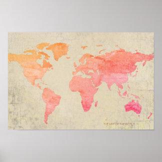 Póster viaje envejecido del mapa del mundo de la acuarela