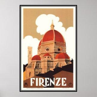 Póster Viaje Italia, Florencia del vintage -