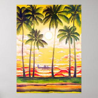 Póster Viaje nativo de Hawaii de la línea aérea de la