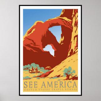 Póster Viaje retro América de la imagen del vintage de la