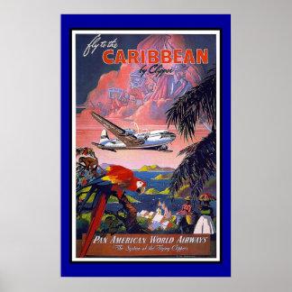 Póster Viaje retro el Caribe de la imagen del vintage de