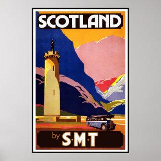 Póster Viaje retro Escocia de la imagen del vintage de la