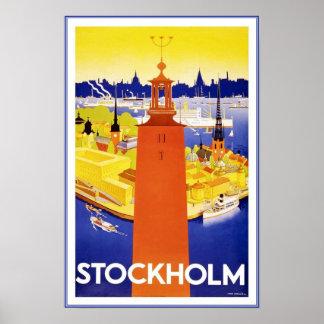 Póster Viaje retro Estocolmo de la imagen del vintage de