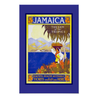 Póster Viaje retro Jamaica de la imagen del vintage de la