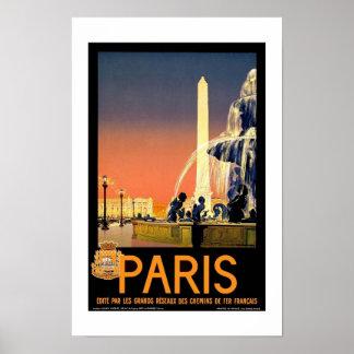 Póster Viaje retro París Francia de la imagen del vintage