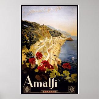 Póster Viaje subió Italia de la ciudad de Amalfi de la