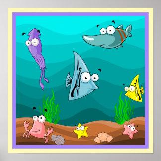 Póster Vida marina bajo dibujo animado lindo del mar