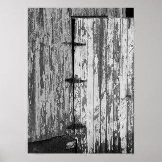 Póster Vieja fotografía blanco y negro de la puerta de