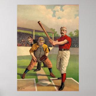 Poster viejo clásico del béisbol retro del vintage póster