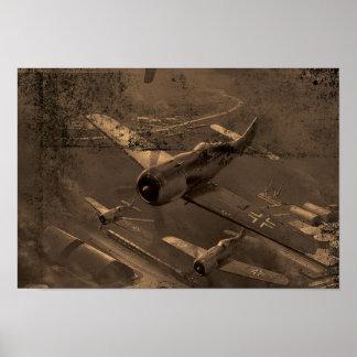 Póster Viejo marrón del polvo y del rasguño del avión de