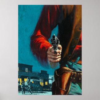 Póster Viejo vaquero del oeste del Gunslinger del vintage