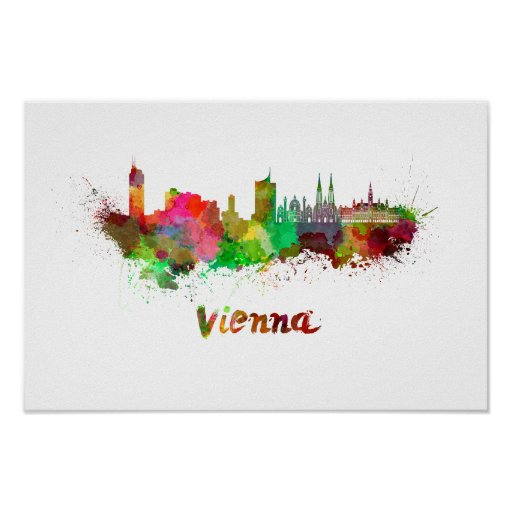 Póster Vienna skyline in watercolor