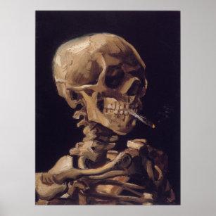 Póster Vincent van Gogh - cráneo con el cigarrillo ardien