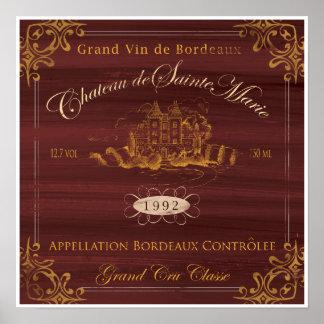 Póster Vino francés LabelArt: Burdeos