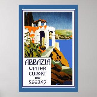 Póster Vintage Abbazia Italia del poster del viaje