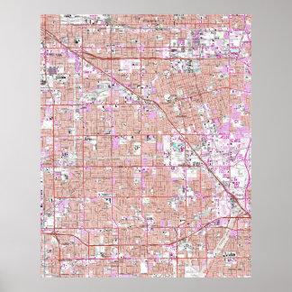 Póster Vintage Anaheim y mapa de CA de la arboleda del