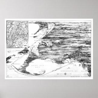 Póster Vintage Cape Cod y mapa de ruta del barco de vapor