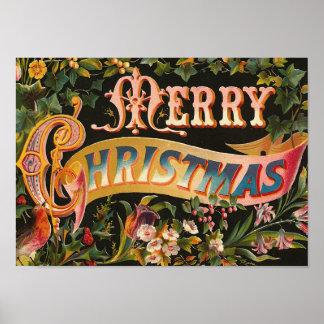 """Póster Vintage """"de las Felices Navidad"""""""
