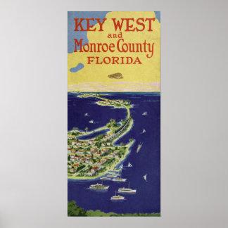 Póster Vintage Key West el condado de Monroe la Florida