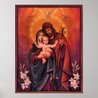 Póster vintage la familia santa, Jesucristo, José, Maria