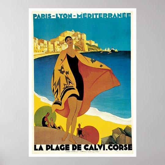 Póster vintage La Plage de Calvi: Roger Broders