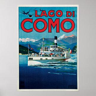 Póster Vintage Lago di Como Travel