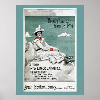 Póster Vintage Lincolnshire, Reino Unido, prospecto del