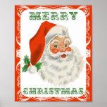 Póster Vintage Papá Noel retro de las Felices Navidad