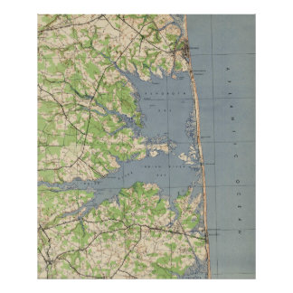 Póster Vintage Rehoboth y Bethany Beach DE Map (1944)