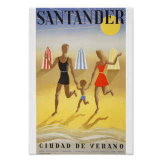 """Poster Vintage: """"Santander, Ciudad de Verano"""" Póster"""