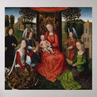 Póster Virgen y niño con los santos Catherine de