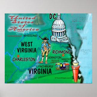 Póster Virginia Virginia Occidental los E.E.U.U.