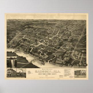 Póster Vista aérea de Gadsden, Alabama (1887)