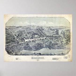 Póster Vista aérea de Madison, Connecticut (1881)