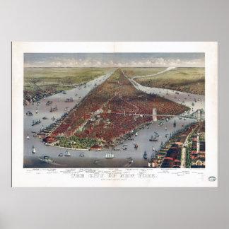 Póster Vista aérea de New York City (1884)