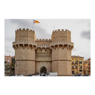 Póster Vista ceremonial de las torres de Serranos
