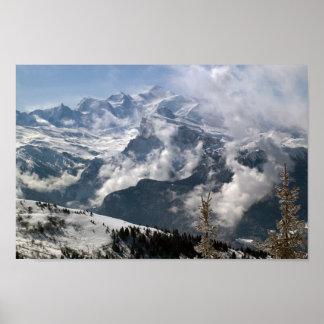 Póster Vista dramática de Mont Blanc