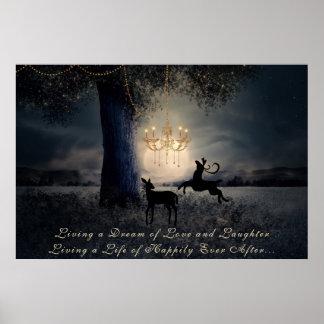 Póster Viviendo una Luna Llena, un árbol y un ciervo del
