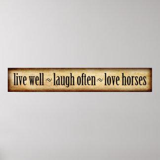 Póster Vivo, risa, amor - caballos