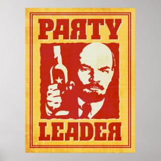 Póster Vladimir Lenin - fiesta satírico de Bolchevique