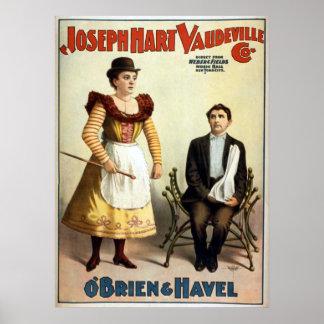 """Póster Vodevil del vintage de """"O'Brien y de Havel"""""""
