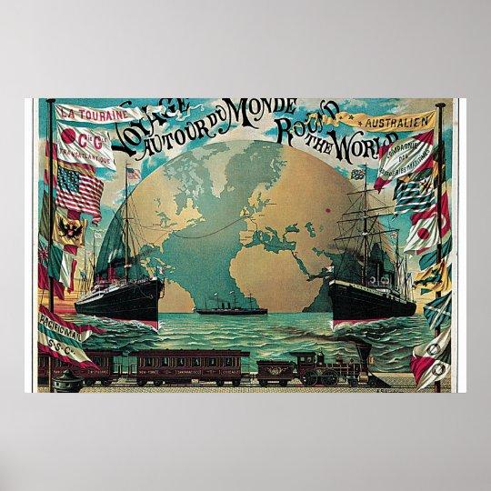 Póster Voyage autour du monde